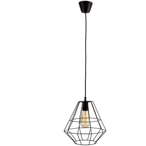 Lámpara de Techo Colgante Vintage. Forja en Negro [Clase de Eficiencia Energética A++] Bombilla E27