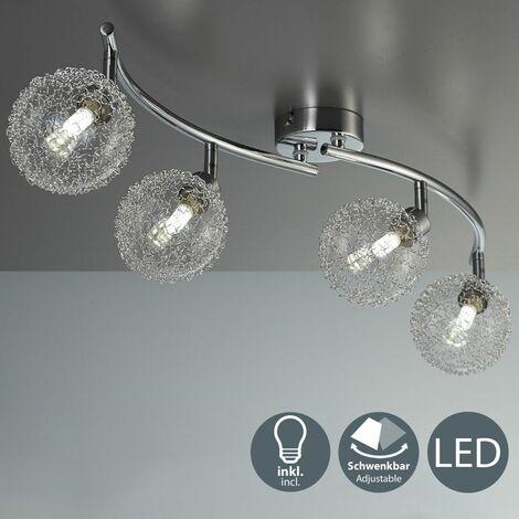 Lámpara de techo con 3 x 3,5 W bolas de cristal, luz de techo moderna de metal incl 3 bombillas LED G9 230V, IP20 blanco calido 3000K:2 Strahler (de)