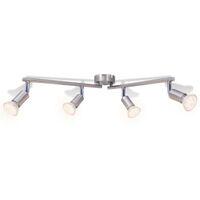 Lámpara de techo con 4 focos LED de níquel satinado