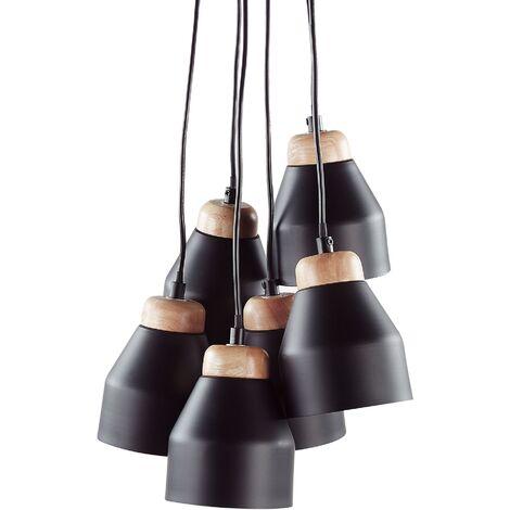 Lámpara de techo con 6 pantallas negra CESTO