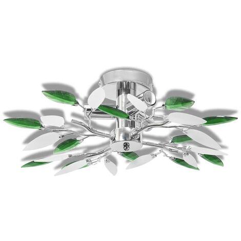 Lámpara de techo con brazos de cristal hojas blanco y morado