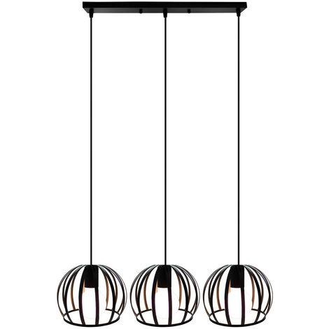 Lámpara de Techo Con Cable Ajustable Lámpara Colgante de Hierro Redondo de Metal Lámpara Vintage Industrial de 3 Cabezales Lámpara Colgante para Cocina Pasillo de Interior Negro