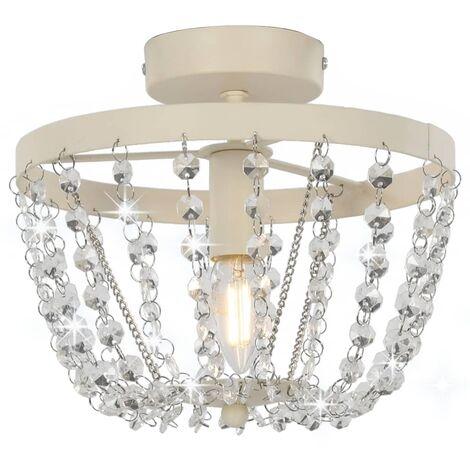 Lámpara de techo con cuentas de cristal blanco redonda E14