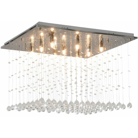 Lámpara de techo con cuentas de cristal plateado cúbica G9