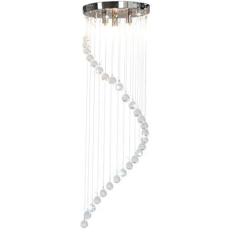 Lámpara de techo con cuentas de cristal plateado en espiral G9