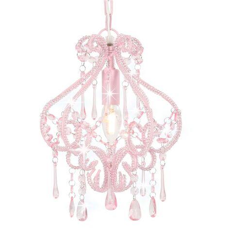 Lámpara de techo con cuentas rosa redonda E14