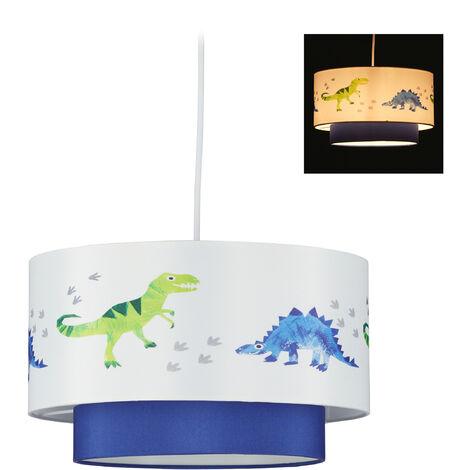 Lámpara de techo con dinosaurios, Pantalla redonda, Iluminación agradable, 126x30 cm, 1 Ud., Azul & Blanco