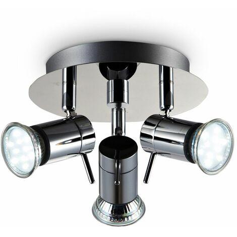 Lámpara de techo con focos giratorios y orientable incl. 3x3W LED bombillas GU10, 230V, Color cromo, Metal, Lampara de baño IP44,luz blanca cálida 3000K