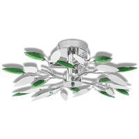 Lámpara de techo con forma de hojas, cristal acrílico blanco y verde