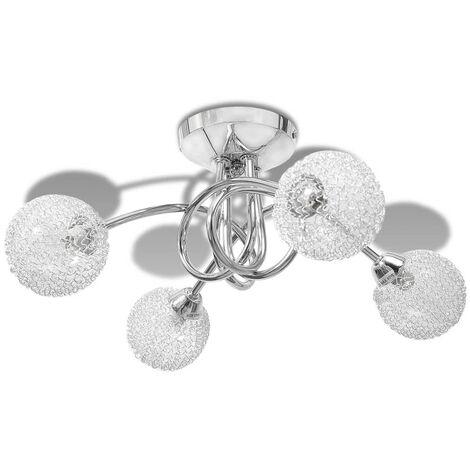 Lámpara de techo con pantalla de malla de alambre para 4 bombillas G9