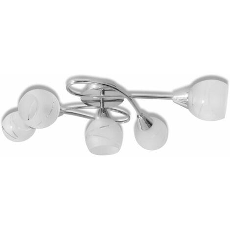Lámpara de techo con pantallas de cristal para 5 bombillas E14