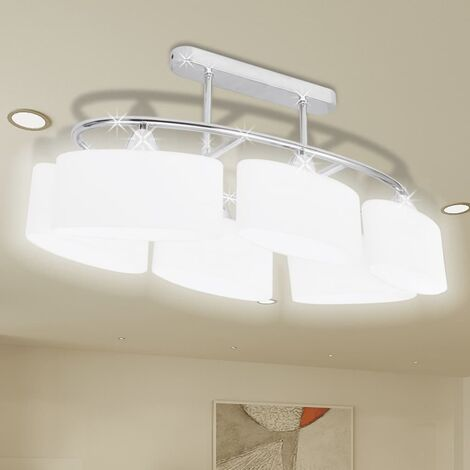 Lámpara de techo con seis focos elipsoidales de vidrio, E14