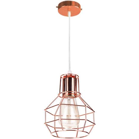 Lámpara de Techo Creativa Jaula de Metal Lámpara Colgante Oro Rosa Lámpara Industrial para Dormitorio Cafetería Bar E27 ø15cm