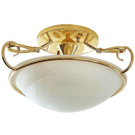 Lámpara de techo cristal Lonika, latón brillante