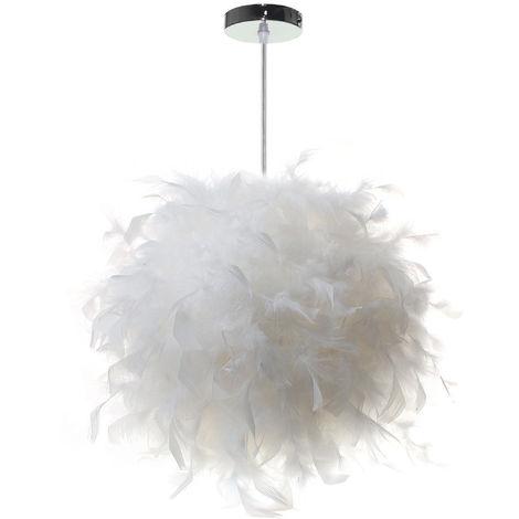 Lámpara de Techo de 25cm con Pluma Moderna Colgante Luz Iluminación E27 (Blanco)para sala de estar Dormitorio Porche Bar Restaurante Hotel