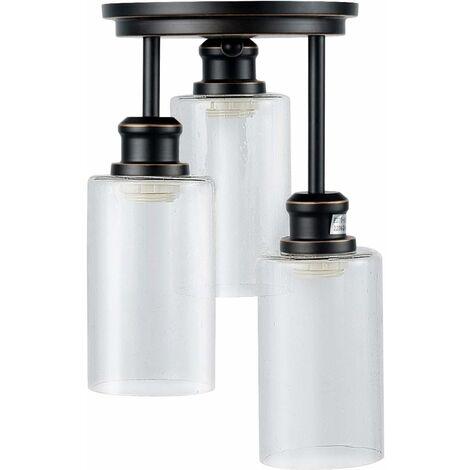 Lámpara de Techo de 3 Luces y Pantalla Vintage con Portalámpara de E27 Sin Bombilla para Salón Hogar Hotel Comedor