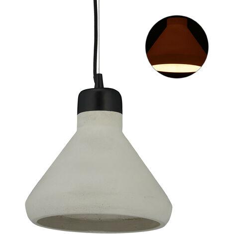 Lámpara de techo de cemento, Iluminación colgante, Vintage, E27, 119 x 26 cm, 1 Ud., Gris & Negro