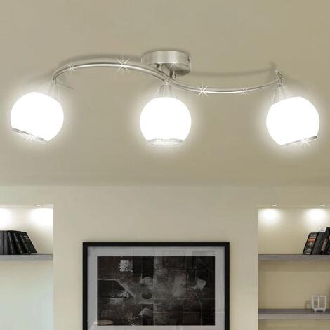 Lampara de techo de cristal con soporte curvado para 3 bombillas E14 (no se puede enviar a Baleares)