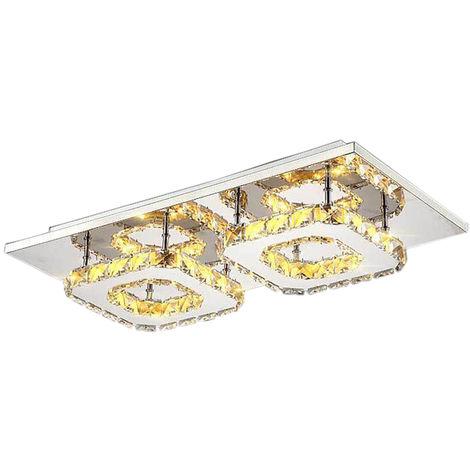Lámpara de Techo de cristal doble cabeza Lámpara Colgante Espejo de acero inoxidable LED moderna Lámpara de cristal para sala de estar dormitorio (Luz blanca)Cálida