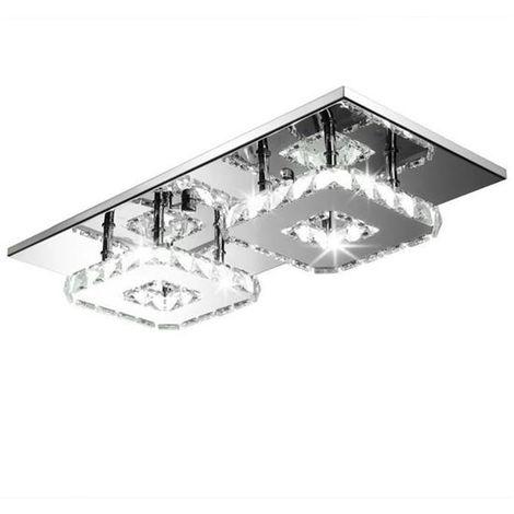 Lámpara de Techo de cristal doble cabeza Lámparas Colgante Espejo de acero inoxidable LED moderna Lámpara de cristal para sala de estar dormitorio (Luz blanca)Frío