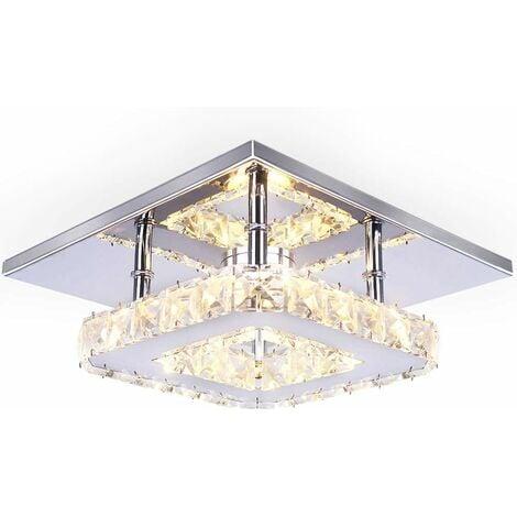 Lámpara de Techo de cristal Espejo de acero inoxidable LED 12W moderna lámpara de cristal para sala de estar dormitorio (Luz blanca)Cálida
