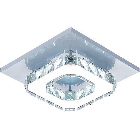 Lámpara de Techo de cristal Lámpara Espejo de acero inoxidable LED 12W moderna lámpara de cristal para sala de estar dormitorio (Luz blanca)Frío