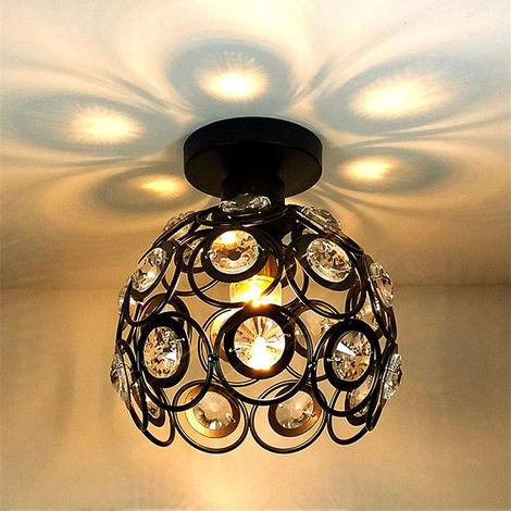 Lámpara de Techo de Cristal Metal Industrial 26cm Vintage Lámpara Colgante Iluminación E27 para Salón de Comedor Hotel Restaurante Cafe Negro