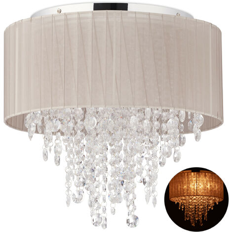 Lámpara de techo de cristal, Pantalla de organza, G9, Cinco focos, 39 x 39,5 cm, 1 Ud., Gris & Plateado