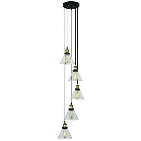 Lámpara de Techo de Cristal y Latón Bow 5 Elementos
