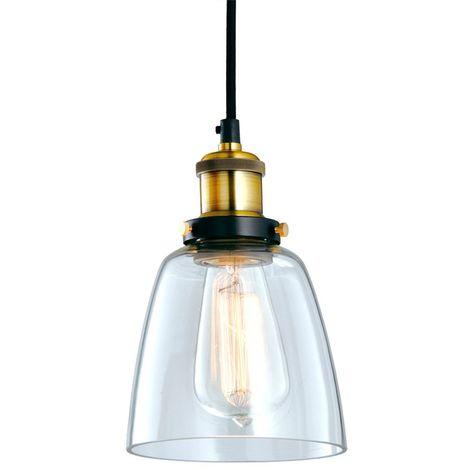 Lámpara de Techo de Cristal y Latón Kopp