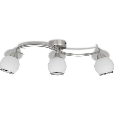 Lámpara de techo de cristal y soporte curvado 3 bombillas E14