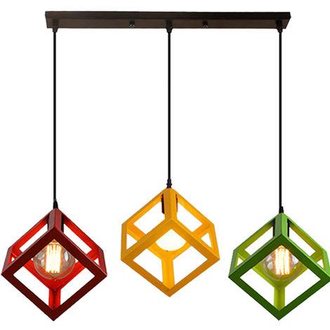 Lámpara de Techo de Cubo Ajustable en Altura Creative 3 Luces Lámpara Colgante de 3 Colores Lámpara Colgante Industrial Colorida para Pasillo de Cocina Rojo+Amarillo +Verde