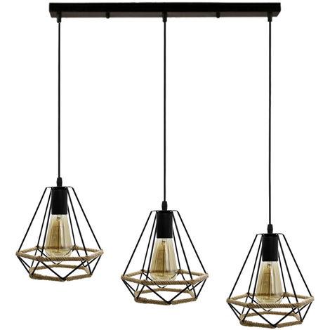 Lámpara de Techo de Diamante de Cuerda de Cáñamo 20cm Araña Industrial Retro Negra Lámpara de Suspensión Nostalgia Clásica de 3 Cabezas para Dormitorio Tipo Loft