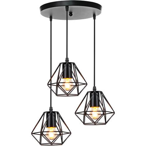 Lámpara de Techo de Jaula de Hierro de Metal Lámpara Colgante Industrial Vintage 3 Cabezas Luz Colgante Creativa para Cocina Café Oficina Comedor Negro