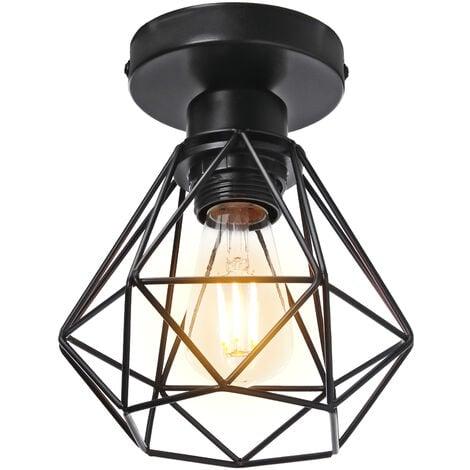 Lámpara de Techo de Jaula de Metal Lámpara Industrial Retro Lámpara Colgante Creativa para Interior Bar Club Negro