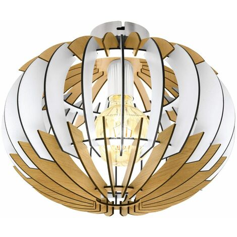 "main image of ""Lámpara de techo de madera salón iluminación listones diseño lámpara naturaleza blanco Eglo 32844"""