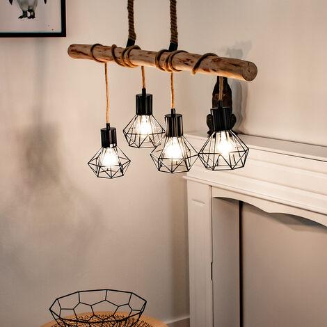 Lámpara de techo de péndulo VINTAGE haz de madera iluminación de comedor lámpara colgante de celosía negro