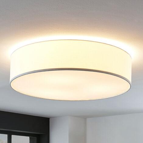 Lámpara de techo de tela Gordana en blanco, 57 cm