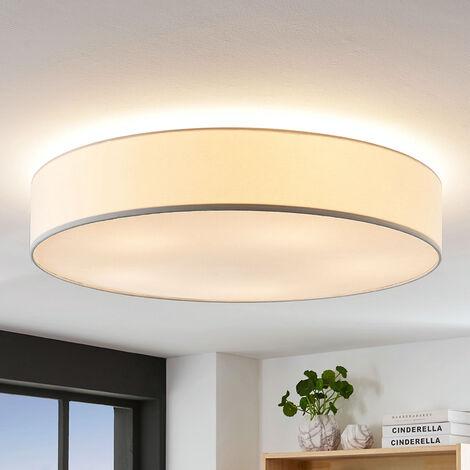 Lámpara de techo de tela Gordana en blanco, 76 cm