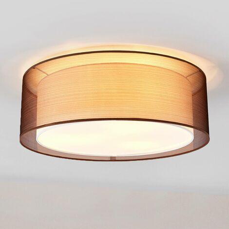 Lámpara de techo de tela Nica marrón