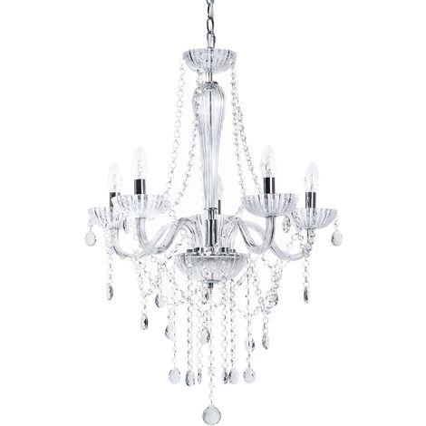Lámpara de techo en cristal con detalles cromados LOCONE
