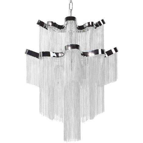 Lámpara de techo en cristal y metal cromado MUCONE