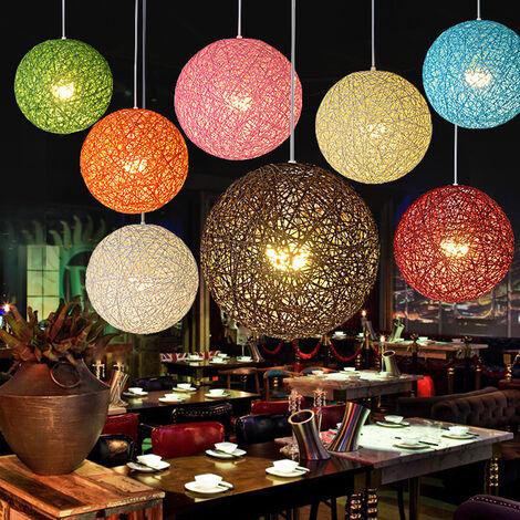 Lámpara de Techo Esférica Moderna Lámpara Colgante Idílica país de Cuento de Hadas Araña de Colores de Tejido de Ratán para Dormitorio Cafe Loft Rojo ø20cm