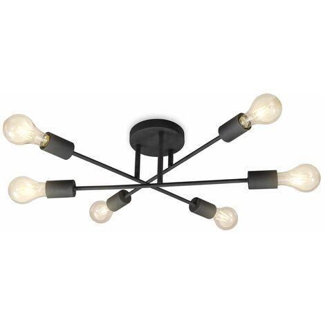 Lámpara de techo estilo vintage I Lámpara de techo en look retro I 6 focos I 6 bombillas E27 (no incluidas) I estilo rústico