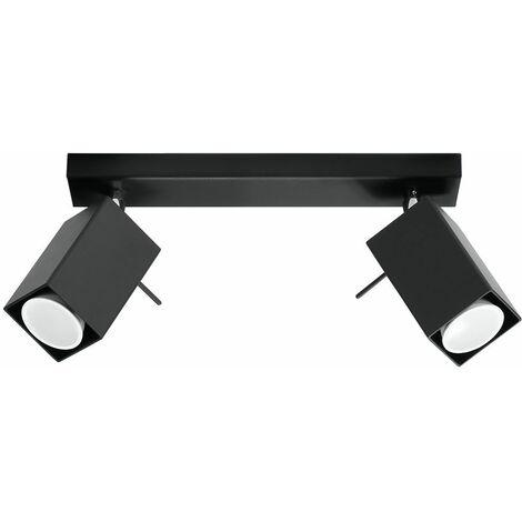 Lámpara de techo foco 2 llamas foco de techo lámpara de techo lámpara de techo ajustable negro, foco de acero, 2x GU10, L 30 cm, comedor