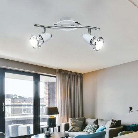 Lámpara de techo Foco de comedor LED cromado con focos orientables, blanco plateado, 2x4 vatios 2x 250 lúmenes 3000 Kelvin, L x An x Al 34x9x15 cm