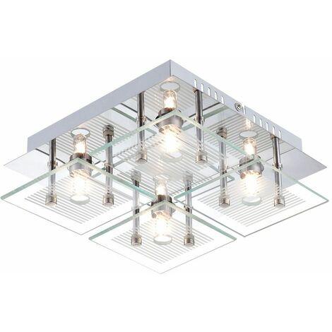 Lámpara de techo, foco de vidrio, lámpara de cromo, dormitorio, comedor, diseño, iluminación Globo 49201-4