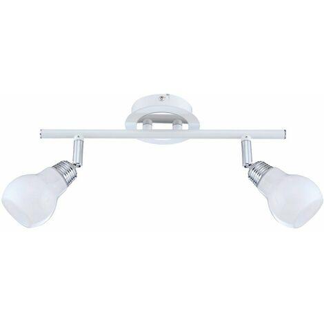 Lámpara de techo, focos de vidrio, barra de foco móvil, blanco Lámpara de foco en blanco, 2 llamas, 2x 33 vatios 460 lúmenes blanco cálido, L 40 cm