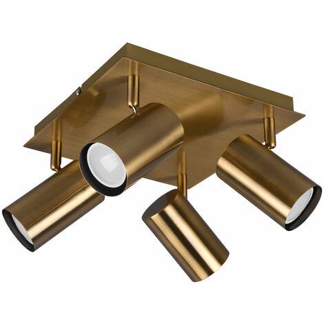 Lámpara de techo focos orientables Focos de techo cocina lámpara de salón retro 4 llamas, fabricada en metal en latón antiguo, 4x LED 5W 400Lm blanco cálido, L x Al.24x15 cm
