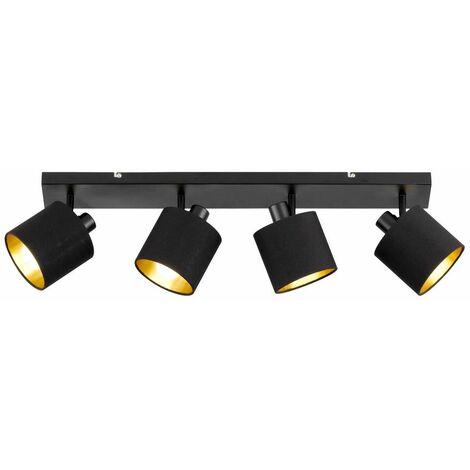 Lámpara de techo focos textiles lámpara de pasillo móvil ORO NEGRO en conjunto con bombillas LED